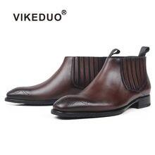Vikeduo/модные мужские ботильоны из натуральной кожи ручной