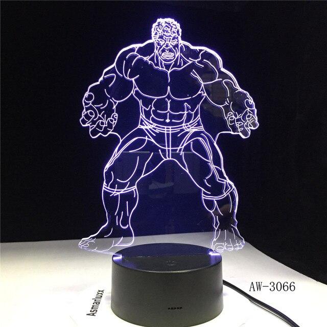 Hulk Figurinhas Bedroon Decoração Figura Modelo Brinquedos de Super-heróis 3D Ilusão Levou Mudança de Cor Da Lâmpada Toque Nightlight Piscando AW-3066