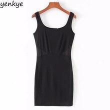 Club Sexy Dress Women Black knitted Sleeveless Vest Dress Female Waist Decoration Bodycon Mini Dress Summer