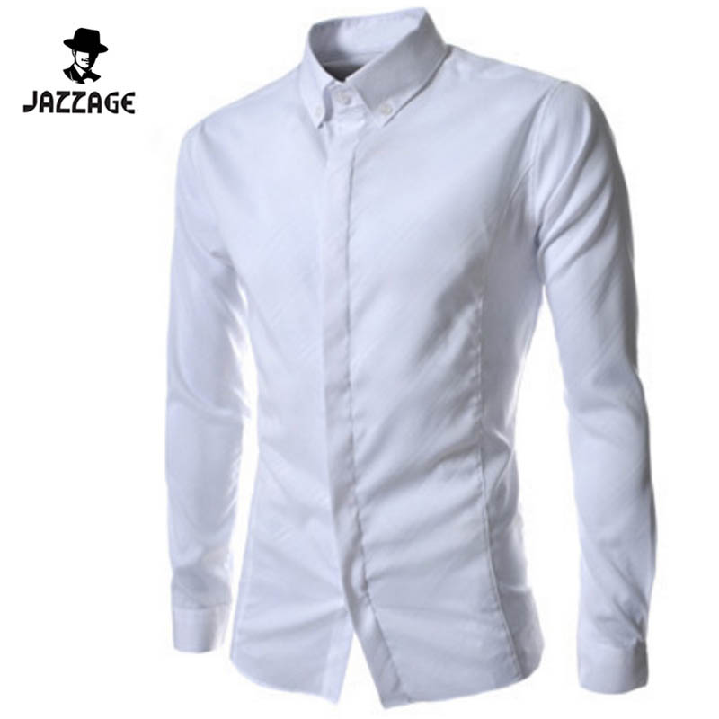 Camisa Masculina Slim Fashion Men Shirt 2016 New Brand Casual Long-Sleeved Chemise Homme Solid Dark Stripes Men'S Shirts DW2
