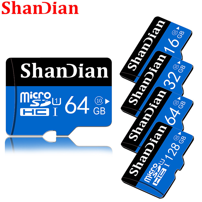 ShanDian Hot Sale Micro SD Memory Card 64GB 32GB 16GB 8GB Class10 TF Card Microsd Pen Drive Flash Memory Disk High Speed