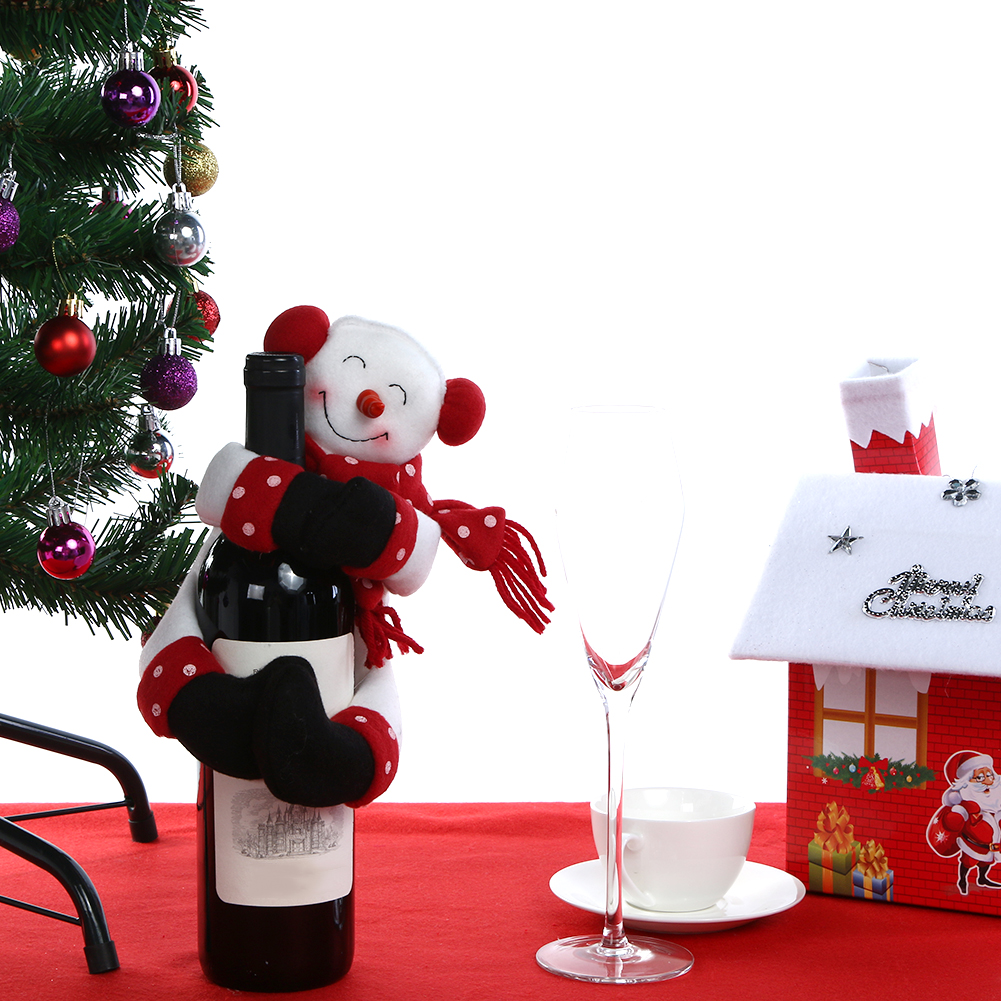 Santa claus snowman wine bottle cover new year gifts for New home christmas decoration