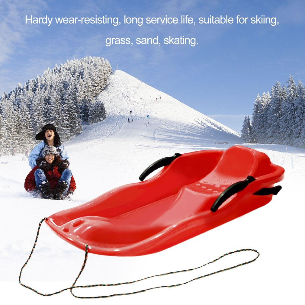 7Color Outdoor Sports Plastic Skiing Boards Sled Luge Snow Grass Sand Board Ski Pad Snowboard With Rope For Double People inflatable sand tray plastic mobile table for children kids indoor playing sand clay color mud toys accessories multi function