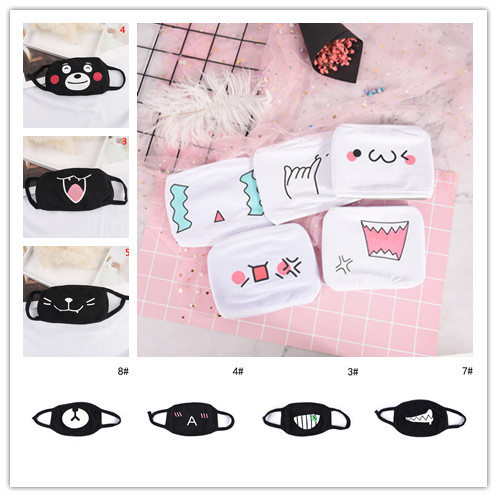 Hot 1pc Cute Cartoon Face Mouth Mask Emotiction Masque Kpop Masks Women Men Black White Anti-Dust Cotton Mouth Muffle Mask