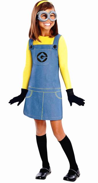 free shipping NEW Kids Despicable Me Minion Dress Costume with gloves not with glasses S M L XL
