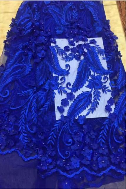 2017 Royal Blue Latest French Network Tulle Lace Fabric African Wedding Party Dress 3 D