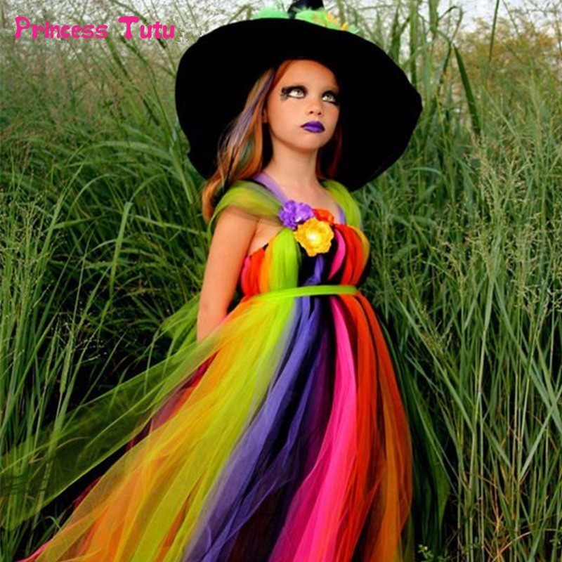 Halloween Girls Tutu Dress Rainbow Cosplay Witch Dress Up Carnival Halloween Costumes For Kids Girls Tulle Party Dresses 1-14Y clown inflatable costumes halloween witch party stage clothes for men women carnival father unisex dress up fancy stuffed toys