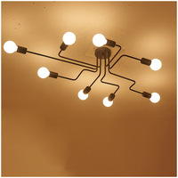 LED Ceiling Lights Retro With 8 Bulbs Industrial Loft Nordic Iron Lustre Lamps For Home Decor