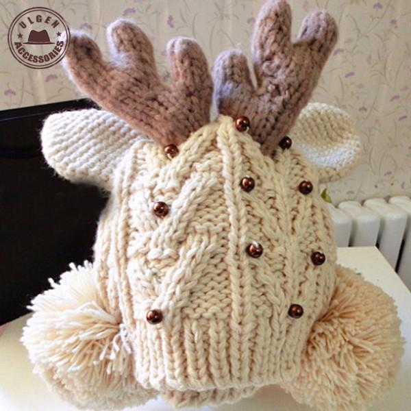 deer horn knitted hats