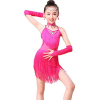 New 2016 Junior Latin Dresses Sequin Fringe Blue Red Ballroom Dancing Salsa Dress Child Girls Latin