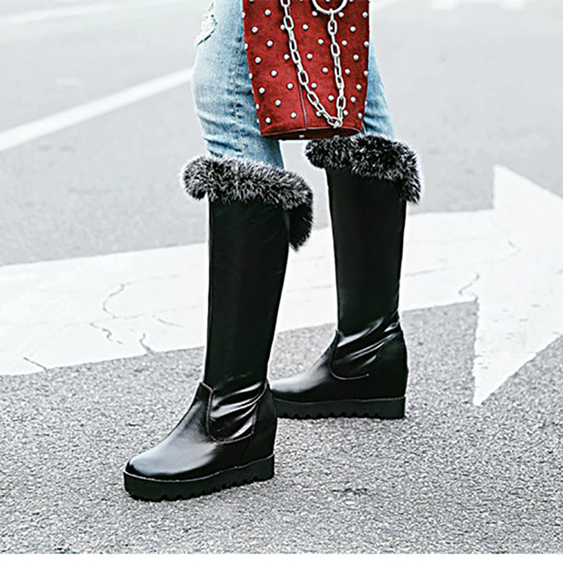 Mid Calf Boots Platform Wedges 8cm Heels Women Shoes Black Red White Fashion Slip On Ladies Warm Fur Winter Boots Plus Size 43 brand new winter quality women mid calf wedges boots fashion black red beige lady riding shoes eym02 plus big size 10 43
