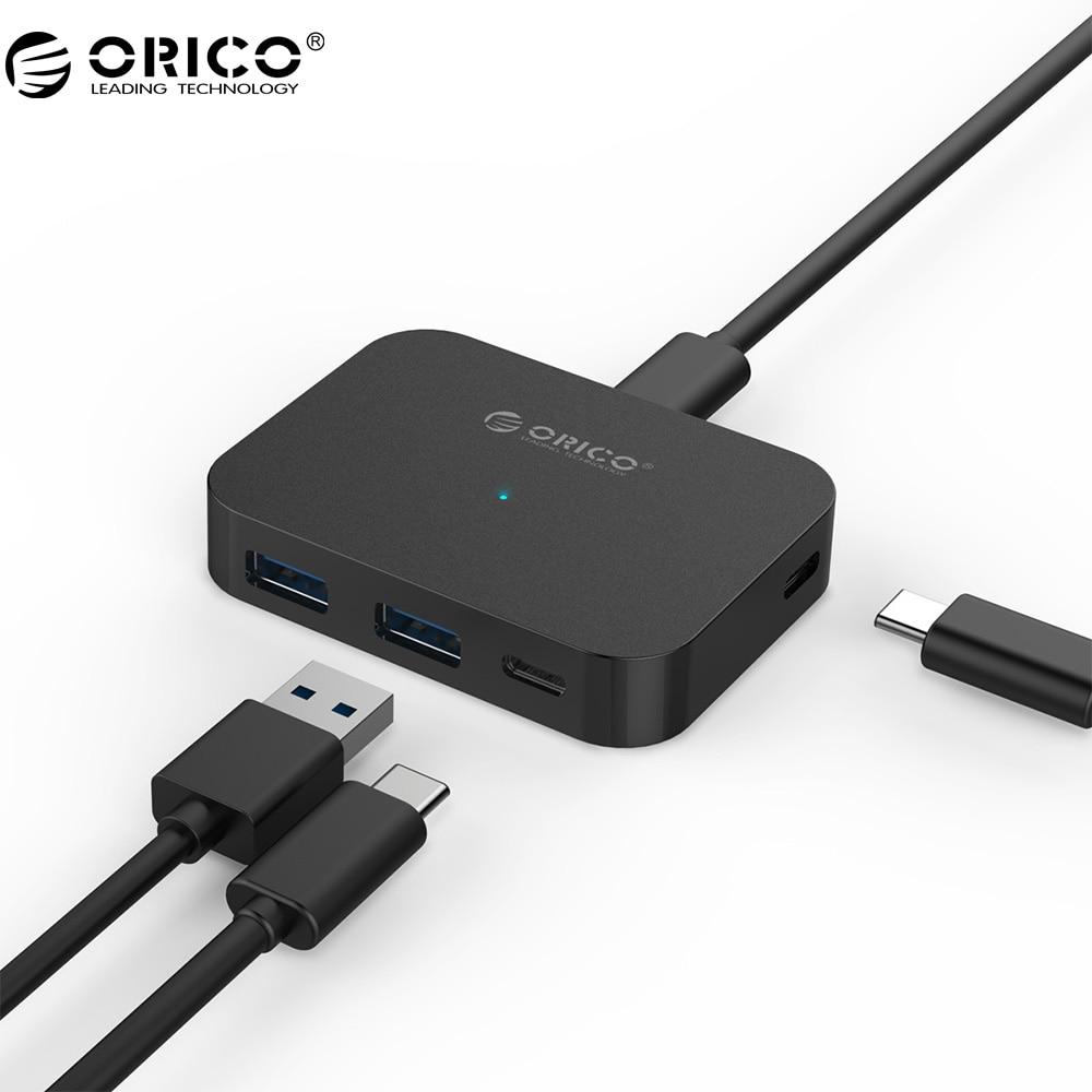 ORICO Type-C 4 Port USB3.0 Mini HUB Support OTG Function 5 Gbps SuperSpeed Type-C USB3.1 For Laptop Desktop Mac PC (TC2U-U3)
