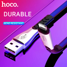 hoco cable usb a for Lightning fast charging data sync wire denim braided flat cord charger for Apple iphone ipad aluminum joint цена