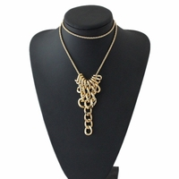 Gold Plated 71cm Long Chain Design Statement Women Jewelry Necklace Big Think Chains Pendants Item D68