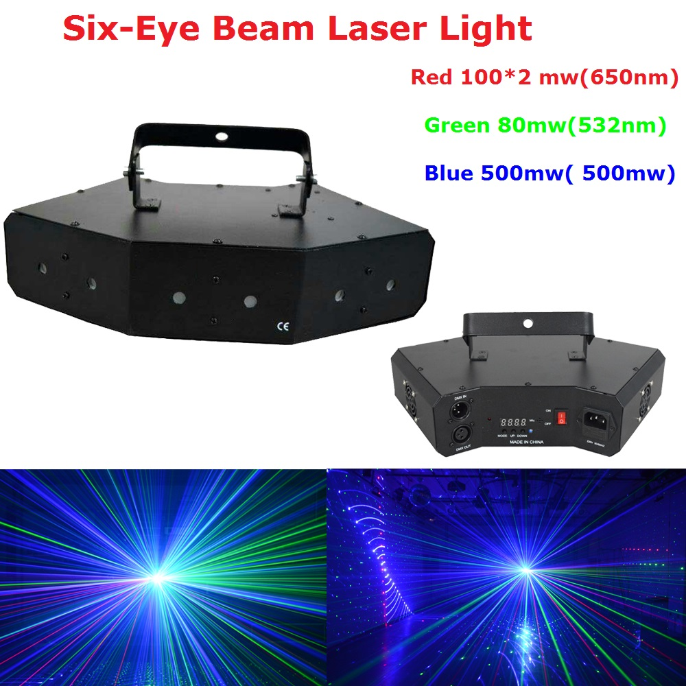 1Pack Stage Laser Projector High Quality 780mw RGB Full Color Six-Eye Beam Laser Lights For Party Wedding Christmas Decoration high quality southern laser cast line instrument marking device 4lines ml313 the laser level
