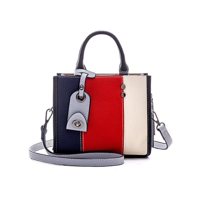High quality Stitch Tote bag Women's handbag for ladies PU leather handbags Ladies Fashion Women panelled stripes shoulder bags aosbos fashion portable insulated canvas lunch bag thermal food picnic lunch bags for women kids men cooler lunch box bag tote