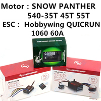 Original Hobbywing QUICRUN 1060 60A ESC and SNOW PANTHER 540 Motor 35T 45T 55T ESC Motor combination for 1/10 1/8 Crawler Scale