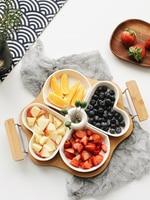 Creative Bamboo and Wood Ceramic Fruit Heart Plate Dessert Plate Split Sugar Plate Dinner Plate Restaurant Supplies Dinner Dish