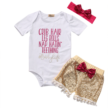 Baby Girls Summer Clothing Set Babies Girl Short Sleeve Letter Printing Bodysuits Sequin Tassels Shorts Outfits Clothes 2019