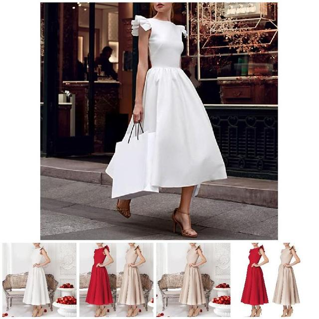Autumn Winter Women Dress Sleeveless O Neck Solid Color High Waist Lady Party Long Dresses BMF88 1