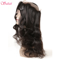 Satai Hair Body Wave 360 Lace Frontal Natural Color 100% Real Human Hair Weave Bundles Remy Hair Extension