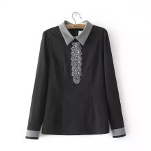 Fashion Style Shirts Beaded Hand Blouses Contact Color Shirt Casual Retro Blouse Turn Down Collar Shirt Long Sleeve Tops EF208