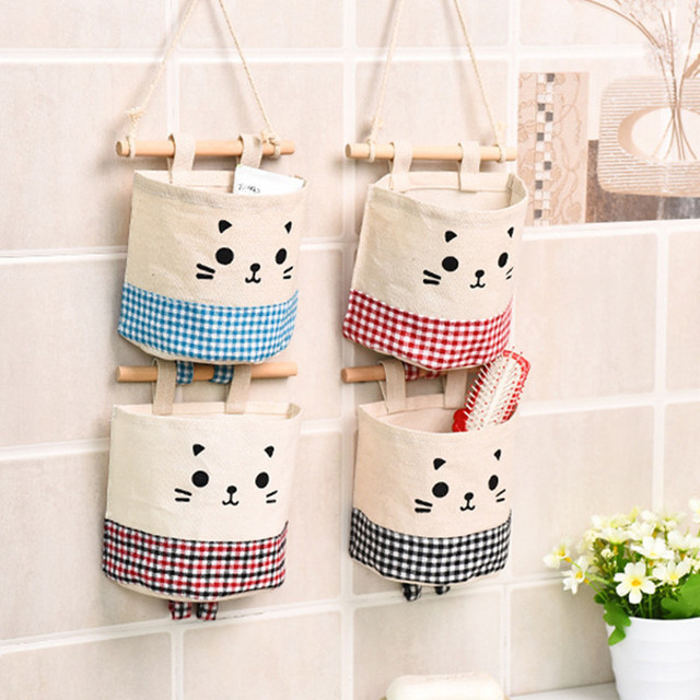 Multi-layer Fabric Storage Hanging Bag Wall Mount Cotton Linen Sundries Storage Bag Environmental Protection Household Items