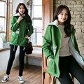 Hot 2016 Autumn Winter Women Coat Thicken Warm Turn Down Collar Women Jacket Coat Fashion New Jackets femme Army Green Black