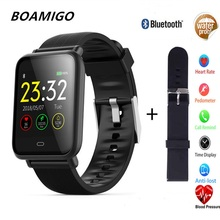 NEW Bluetooth Smart Watch BOAMIGO Waterproof Smartwatch For IOS Android Phone Camera Calories Heart rate bracelet Wristband OLED smartwatch for android ios phone boamigo smart bracelet heart rate calorie reminder men sports alloy watch bluetooth smartwatch