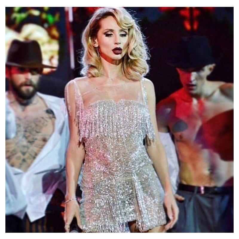2018 Girls Prom Stage Strappy Sleeveless Strapless Glitter Party Disc Rainbow Unicorn Fashion Nova Sequin Tassel Mini Dress