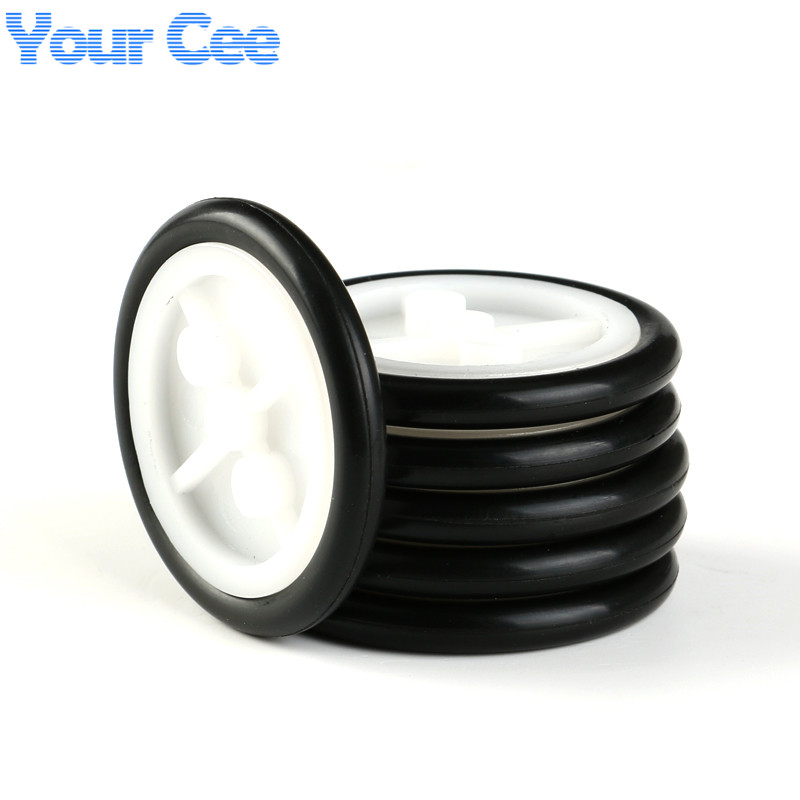20 pcs Small Smart Car Tire Chassis Plastic Robot Rubber Chassis Wheel for Toy car tires ...
