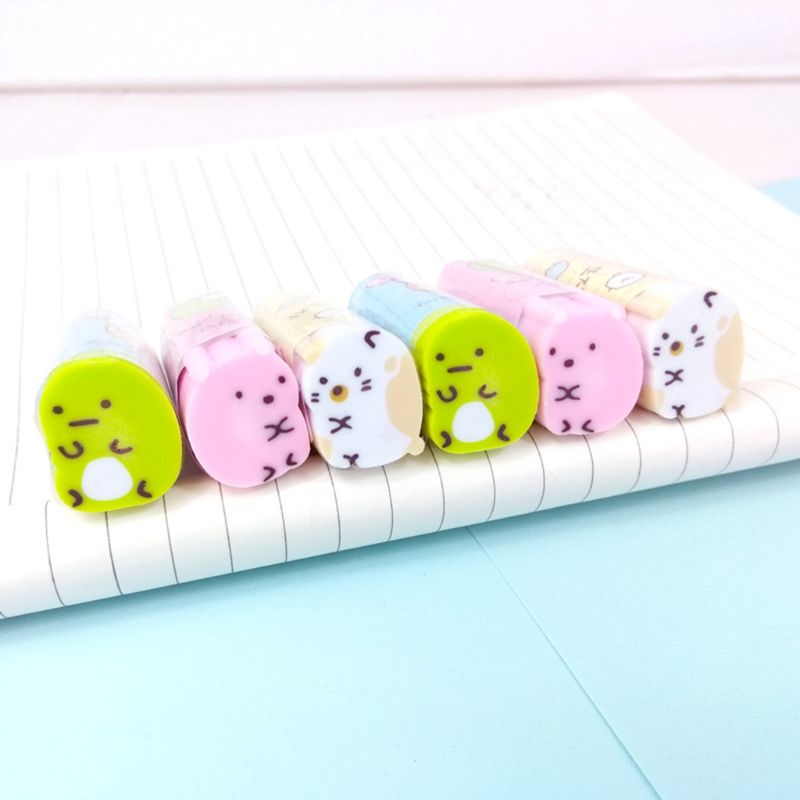 2.3x1.9cm Cute Cat Rubber Eraser Pencil Erasers Stationery Student Children Kids Prizes Promotional Gift Office School Supplies