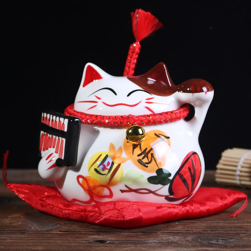 Fortune Cat Handicraft Money Box Ceramic Handpainted Piggy Bank Home Decor Office Saving Box Coin Boxes Friends Children Gifts