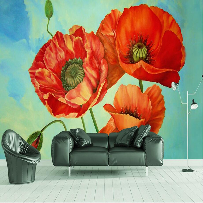 Wallpapers Youman Custom HD Photo 3D Wall Murals Nature Plants Red Flower Wall Paper For Home