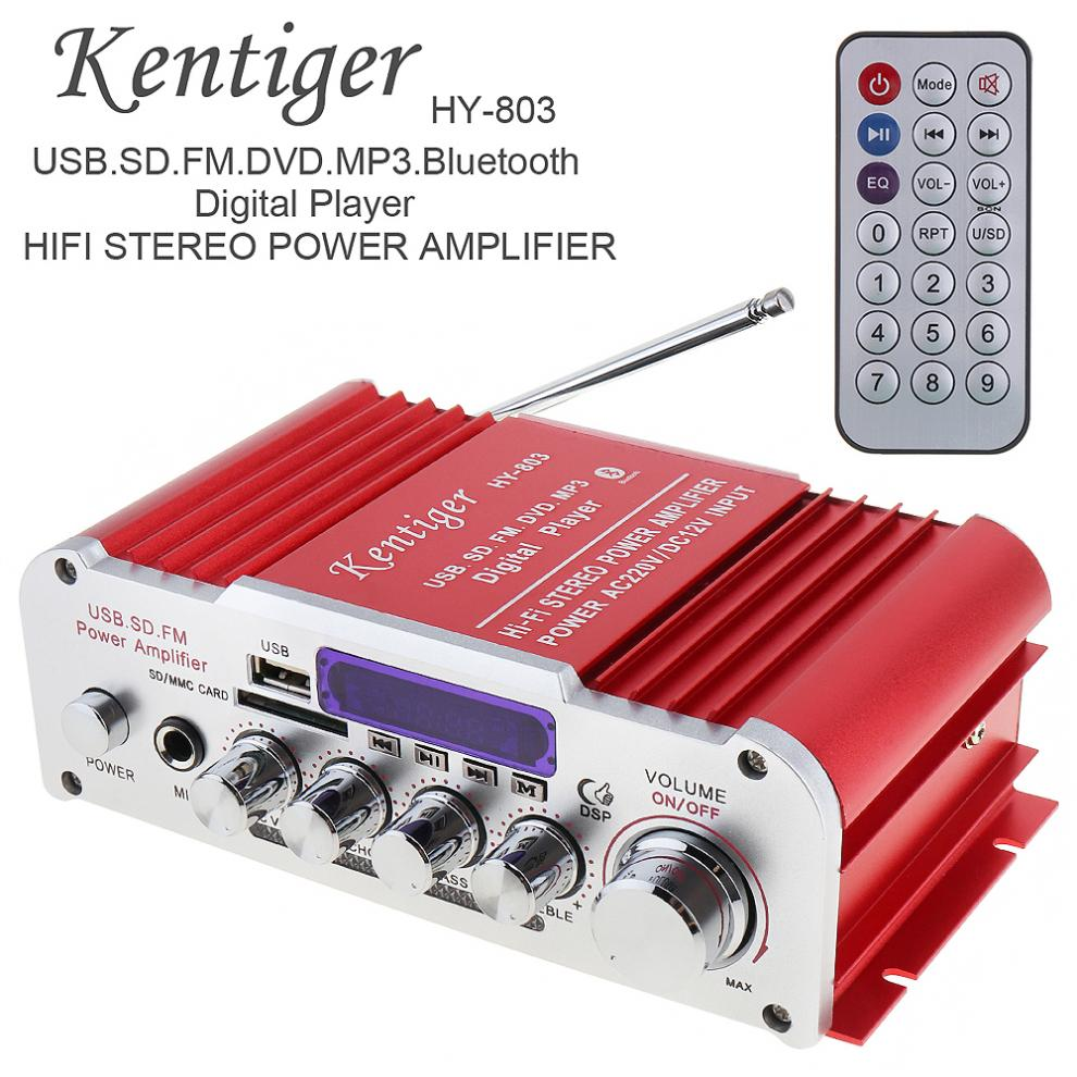 Kentiger 12V 2CH HI-FI Bluetooth Car Audio Power Amplifier FM Radio Player Support SD / USB / DVD / MP3 Input for Car Motorcycle s 750 hi fi stereo digital amplifier w fm sd usb for car motorcycle black
