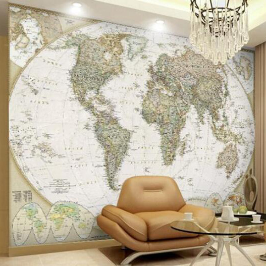 The world map English version background wall mural wallpaper the physical world wall map material laminated