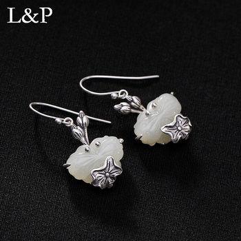 Genuine 925 Sterling Silver HETIAN Jade Drop Earrings Elegant Louts Flower Original Handmade Jewelry For Women Gifts 2019s