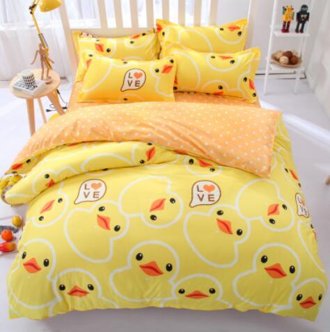 impression reactive ensembles de literie housse de couette drap de lit taie d oreiller plein reine roi double jaune canard doraemon enfants literie linge de