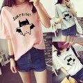 Fshion das Mulheres Linda Bat Impresso Solto Verão T-Shirt de Manga Curta Encabeça Tee