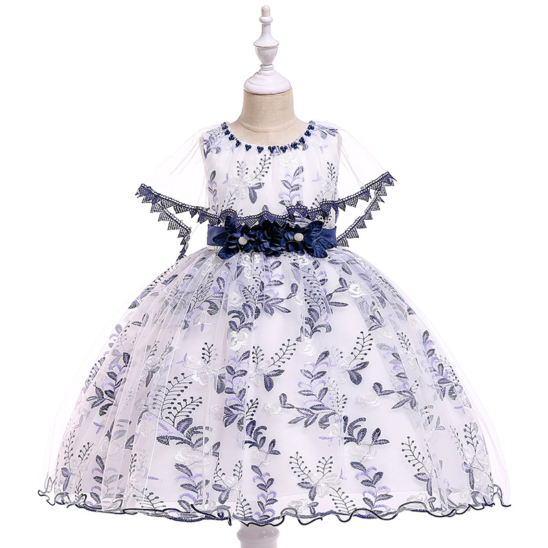 Ballgown Lace Navy Blue   FLower     Girl     Dresses   for Party Ball Gown Kids Formal Wear Princess Birthday Gowns   Dresses