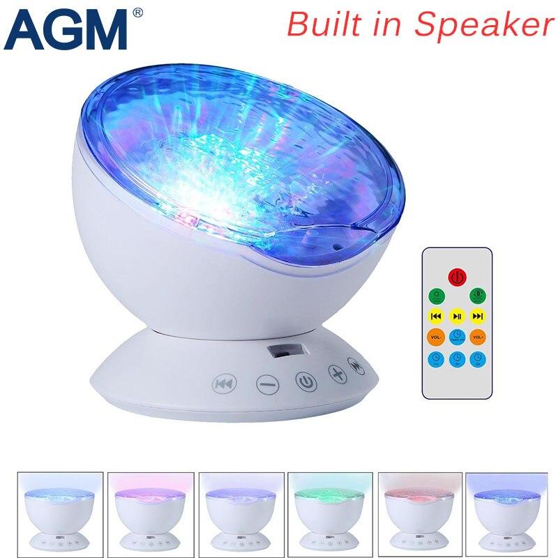 7 Ocean Waves Aurora Effect Music Projector Luminary Sleeping Lamp Speaker TF Cards Player USB LED