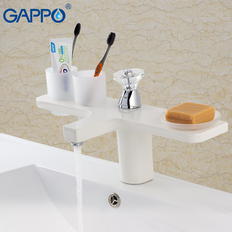 GAPPO white Basin faucet baisn water sink mixer water tap brass deck mount basin mixer bathroom mixer