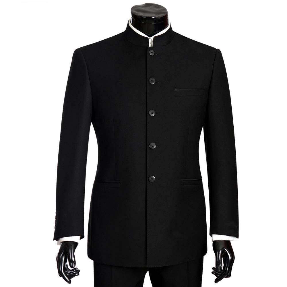 2018 Homens Ternos de Marca Grande tamanho Chinês Mandarim Colarinho Terno Masculino Slim Fit Blazer Terno Do Casamento Smoking 2 Peças Jaqueta & Pant