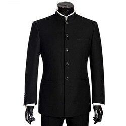 2018 trajes de marca para hombre de gran tamaño, traje de hombre con cuello mandarín chino, Blazer ajustado para boda, Terno, esmoquin, 2 piezas, chaqueta y pantalón