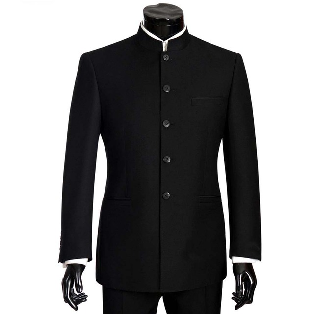2018 מותג חליפות גברים חליפת צווארון מנדרינה זכר גודל גדול הסיני Slim Fit בלייזר חתונה טוקסידו 2 Pieces Terno מעיל ומכנסיים