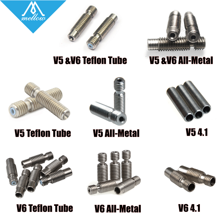 1PCS 3D Printer Nozzle throat with Teflon tube or All metal or 4.1mm for 1.75mm or 3.0mm E3D V5 & V6 J-Head Vocano heater block 10pcs lot high quality 3d printer spare parts m6 26 3d printer e3dv5 nozzle throat with teflon tube