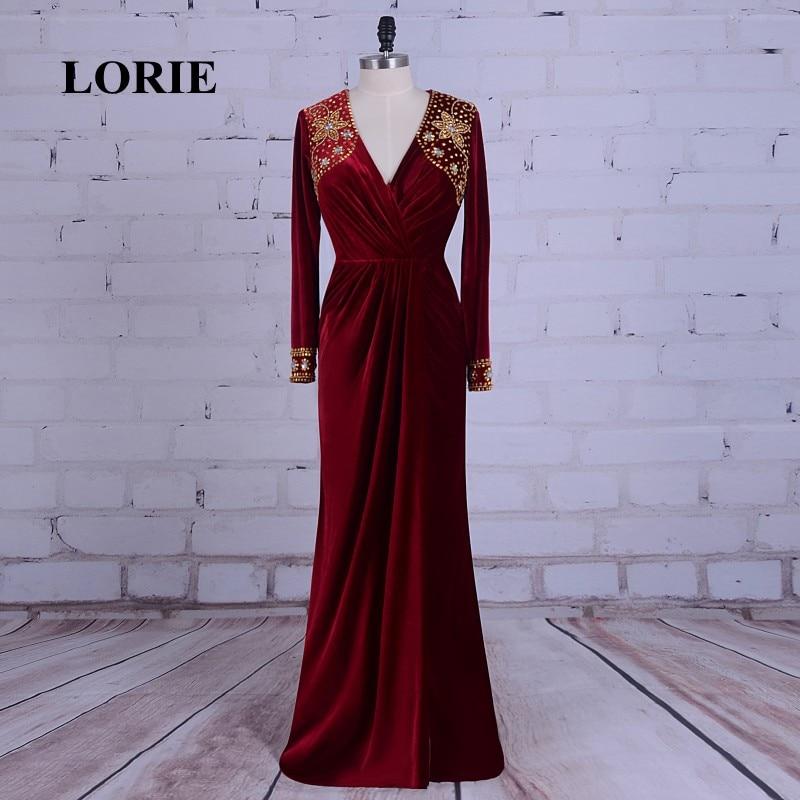 LORIE Burgundska večernja haljina Velvet V-Neck Beaded Zlatni kamen - Haljina za posebne prigode - Foto 1