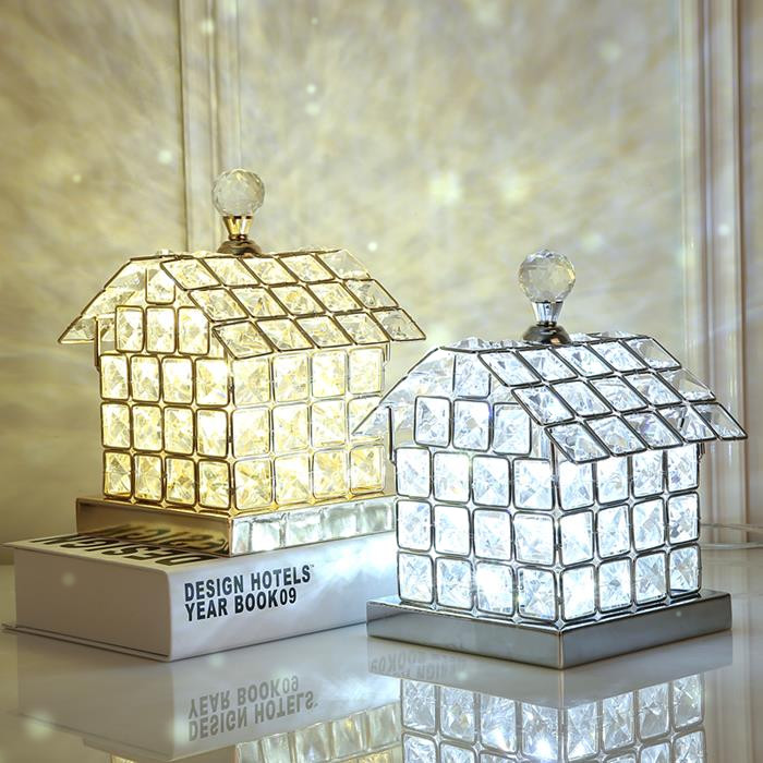 Crystal Table Lamp Bedroom Bedside Light Room Home Decoration LED Lamp House Desk Lamp Night Light Fixture Gifts for Kids