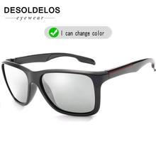 2019 Brand Photochromic Sunglasses Men Polarized Chameleon Discoloration Sun Glasses For Fashion Square Driving Accessories