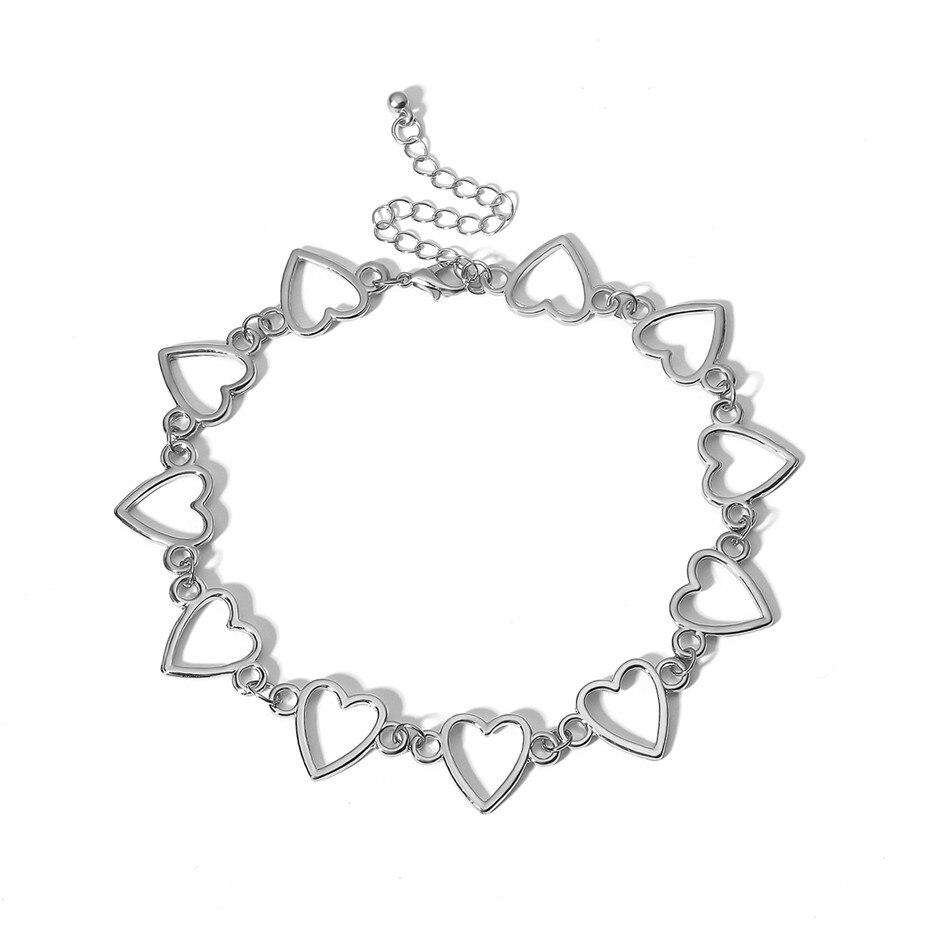 Ingemark Korean Sweet Love Heart Choker Necklace Statement Girlfriend Gift Cute Silver Color Necklace Jewelry Collier Femme 2018 9